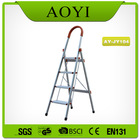 Yellow color aluminum household step folding ladder