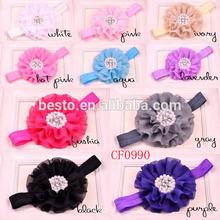 elastic rhinestone peral center chiffon fabric flower baby hair accessories headbands