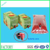Juice packaging bags in box/liquid food bag/food safe plastic bags