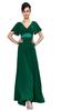 2015 summer woman double v neck chiffon ruffles flutter sleeve women evening dress