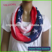 American Flag Scarf, Loop Scarf, Polyester Scarf