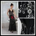 Nova chegada Glamorous ouro preto sem mangas moda partido borde sexy vestido fantasia vestido de dama da moda