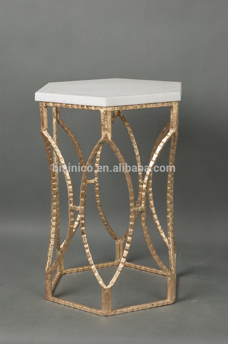 Luxe ijzer kunst zeshoekige koffietafel met marmeren blad home versierd gouden bijzettafeltje - Koffietafel gesmeed ijzer ...