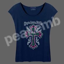 Rhinestone vinyl template Hope Love Faith & Cross tee shirt made in China