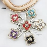 (12PCSmix color/lot) L5000 crystal round flower shape purse handbag hook hanger holder hook bag hook