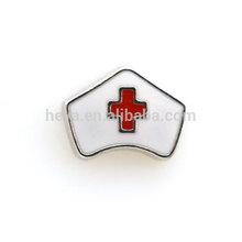 Prata / ouro enfermeira placa hat floating charme
