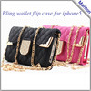 New Design for Foldable iPhone Wallet Case,lady Handbag Bling wallet Case for iphone 5