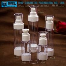 ZB-LI Series 15ml 30ml 50ml 80ml 100ml full capacity high clear round plastic as cosmetic airless bottle