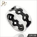 novo estilo de pintura preto flor anel de aço inoxidável