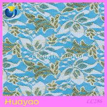 Gold metallic lace fabric