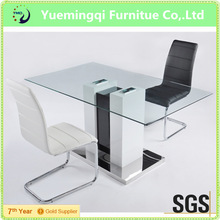 hot selling and most popular dining room furniture set modern tempered glass dining table