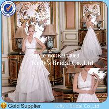 Fashionable latest design little train hangging open back guangzhou dailisha wedding dress firm