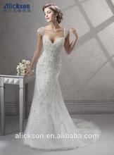 Shiny Sweetheart Detachable Cap Sleeve Embroider Beads Working Wedding Dress Fabric