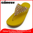 Native materials shoes PU leather slipper for ladies with wedge PU sole and embossed logo flip flop