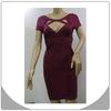 Newest fashion celebrity dress sexy hollow out wine red dress latest bandage dress
