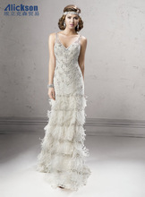 2014 Newest Design V Neck Floor Length Winter Wedding Dresses Fur