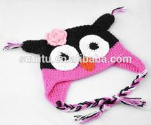 2014 Hot Sale Fashion Cute Newborn Baby Crochet Woll Hat Pattern Owl Knittede Winter Hat