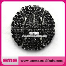 Wholesale Sports Black Basketball For Necklace Rhinestone Pendant