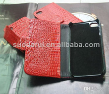 Mobile Phone Accessories Red crocodile Leather Wallet Flip case cover pouch for iphone 5 5s