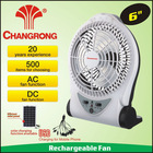 "6"" rechargeable 6inch table small battery fan with light made in japan"
