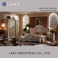 Coroa de luxo cama clássica com esculpido em madeira de design italiano lk-iv117