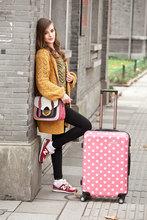 fashion girls use pink dot abs travel trolley luggage, luggage case