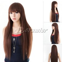 Fashion girls Long Straight wigs 100% Synthetic Hairs Full Lace Wigs wholesale
