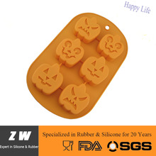 FDA LFGB Oven Dishwasher Safe Heat Resistant Halloween Pumpkin Silicone Cake Jelly Soap Pudding Mold Mould