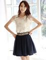 nuevo 2014 de primavera y verano de la mujer camisa de gasa top de encaje rebordear elegante bordado de encaje tops blusas g0500
