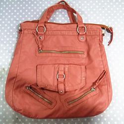 pink pu washed bag elongated tote bag Zipper-decorated bag