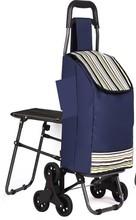 luxury canvas four wheels folding shopping trolley bag