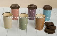 High qualtiy fashion dots travel mug with lid,Promotional ceramic travel mug with custom logo, mug with silicone lid