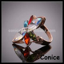 2014 high quality big rhinestone gold party ring