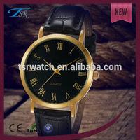 cheap golden alloy case leather hottest watches men,wholesale watches