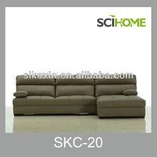 Design moderno/grão superior em forma de l sofá de couro reversível com chaise lounge