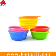Collapsible silicone bowl for pet dog cat shiny inside easy to wash