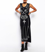 Sacred cat print maxi long dresses 2014