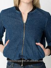 2015 dark blue 100% cotton denim bomber jacket zip front wholesale denim jacket for women