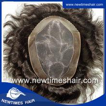 Fine Mono with PU coating perimeter 100% Human Hair Mens Toupee