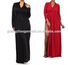 Fat ladies Long sleeve plus size DOUBLE SPLIT STRETCH KNIT THIGH HIGH LONG LEG JERSEY SKIRT MAXI DRESS
