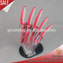 Wonderful 5 pcs non-stick coating rose knife set in arcylic stand