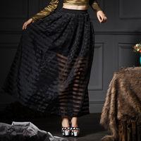 YIGELILA 2015Women Latest Autumn New Snow Yarn Vintage Ball Gown Long Skirt 5193