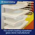 Blanco como la nieve pulido nano de vidrio baño de superficies de las mesas con una función de fregaderos