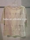 2014 women's new fashion design casual cotton&lace top blouse
