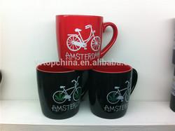 sale glazed stoneware cup bicycle mug printed coffee mug