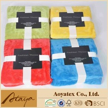 2015 china polyester knitted super soft throw blanket