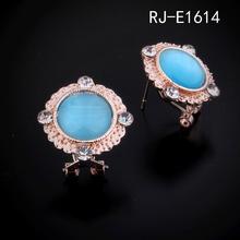 Square opal stud earrings Diamond edge ear clip earrings opal in israel