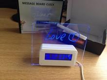 Blue Light Digital LCD LED Message memo Board Alarm Clock