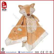 Baby toy SEDEX,ICTI audit factory wholesale soft animal blankie toy doudou toy fox stuffed comforter soft fox blanket doudou