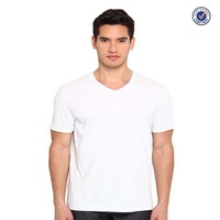 wholesale white blank men's v-neck t-shirt